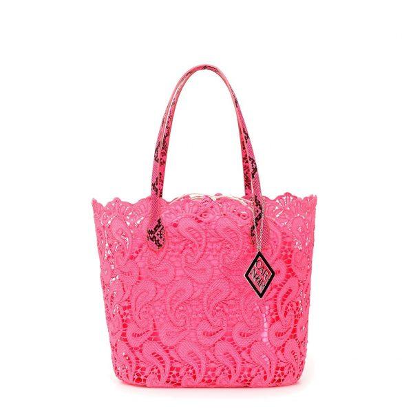 CafèNoir – Shopping bag in pizzo rosa fluo