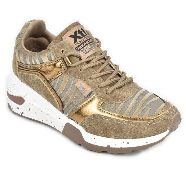 Sneakers tortora e oro con trama zebrata e zeppa – XTI 44599