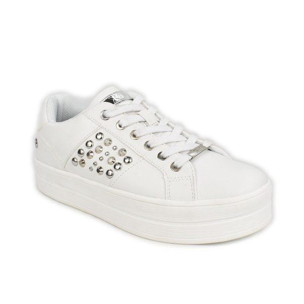 Sneakers bianca con borchie e suola a zeppa – XTI 44546