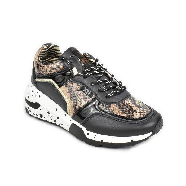 Sneakers nera con trama pitonata con zeppa – XTI 44599
