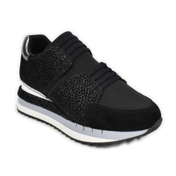 Sneakers slipon nera con trama scamosciata a pois ed effetto glitterato – CafèNoir FDN928