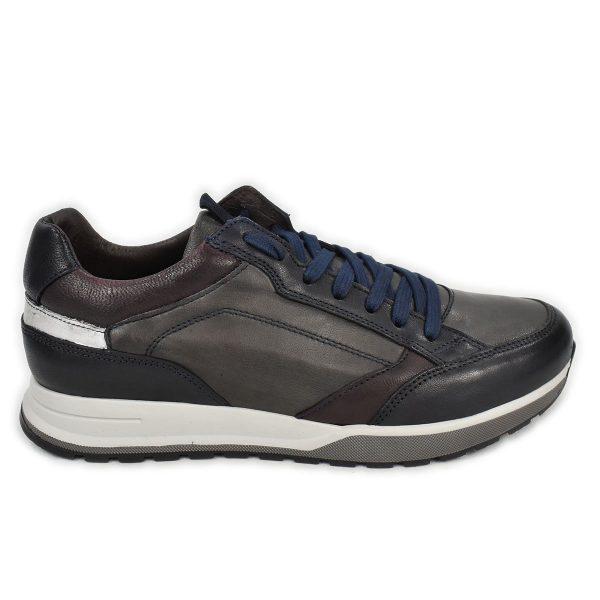 Sneakers in pelle grigia con dettagli blu e rossi – CafèNoir FPD231
