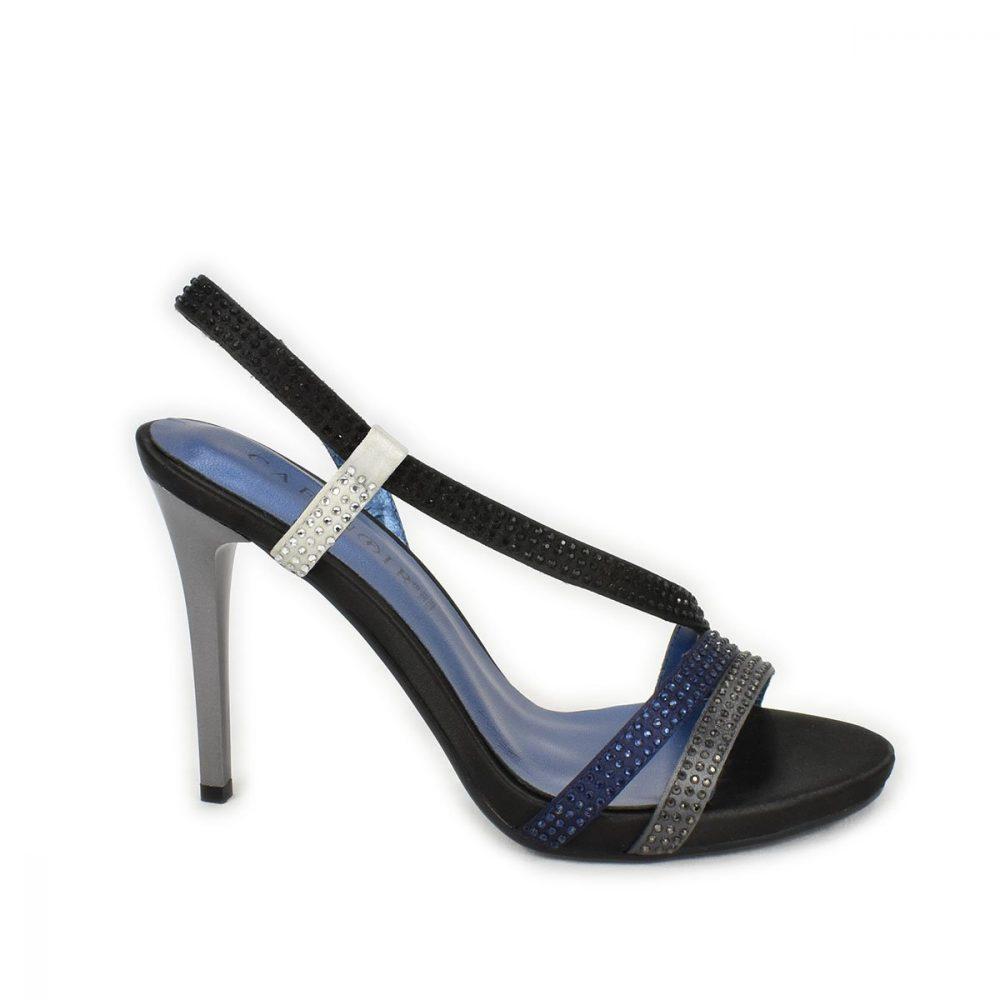 Sandali in raso nero blu grigio con strass CafèNoir nn903
