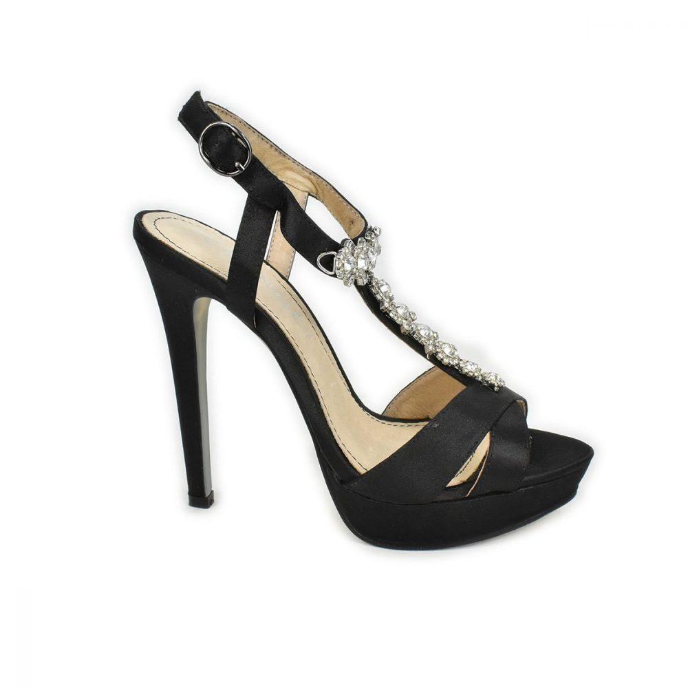 Sandali tacco alto e plateau in raso nero - CafèNoir QLC909