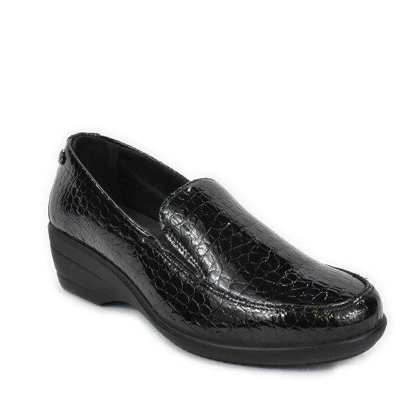 Mocassino con zeppa in pelle nera lucida effetto coccodrillo – Enval Soft 6270911
