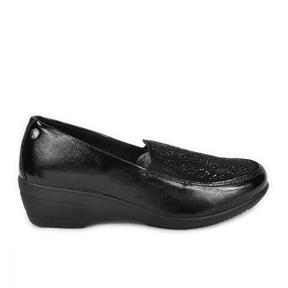 Mocassino comodo nero lucido con strass, zeppa e memoryfoam - Enval Soft 6271000