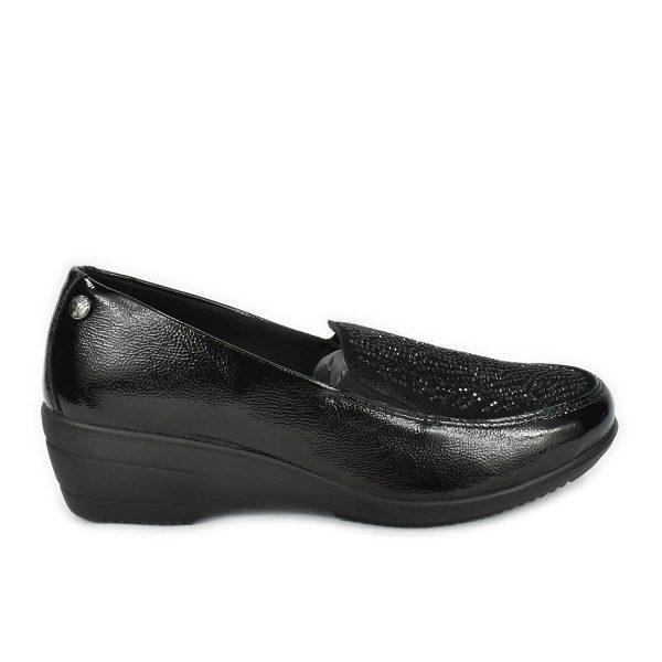 Mocassino nero lucido con strass, zeppa e memoryfoam – Enval Soft 6271000
