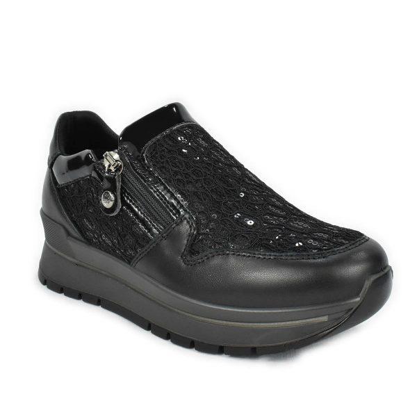 Scarpa con zip in pelle nera e tessuto con paillettes, con memoryfoam – Enval Soft 6282000