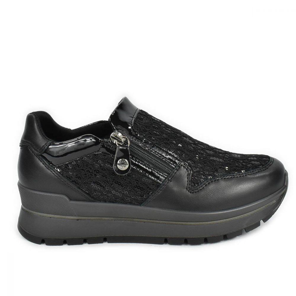 Scarpa nera con zip in pelle e tessuto con paillettes, con memoryfoam - Enval Soft 6282000