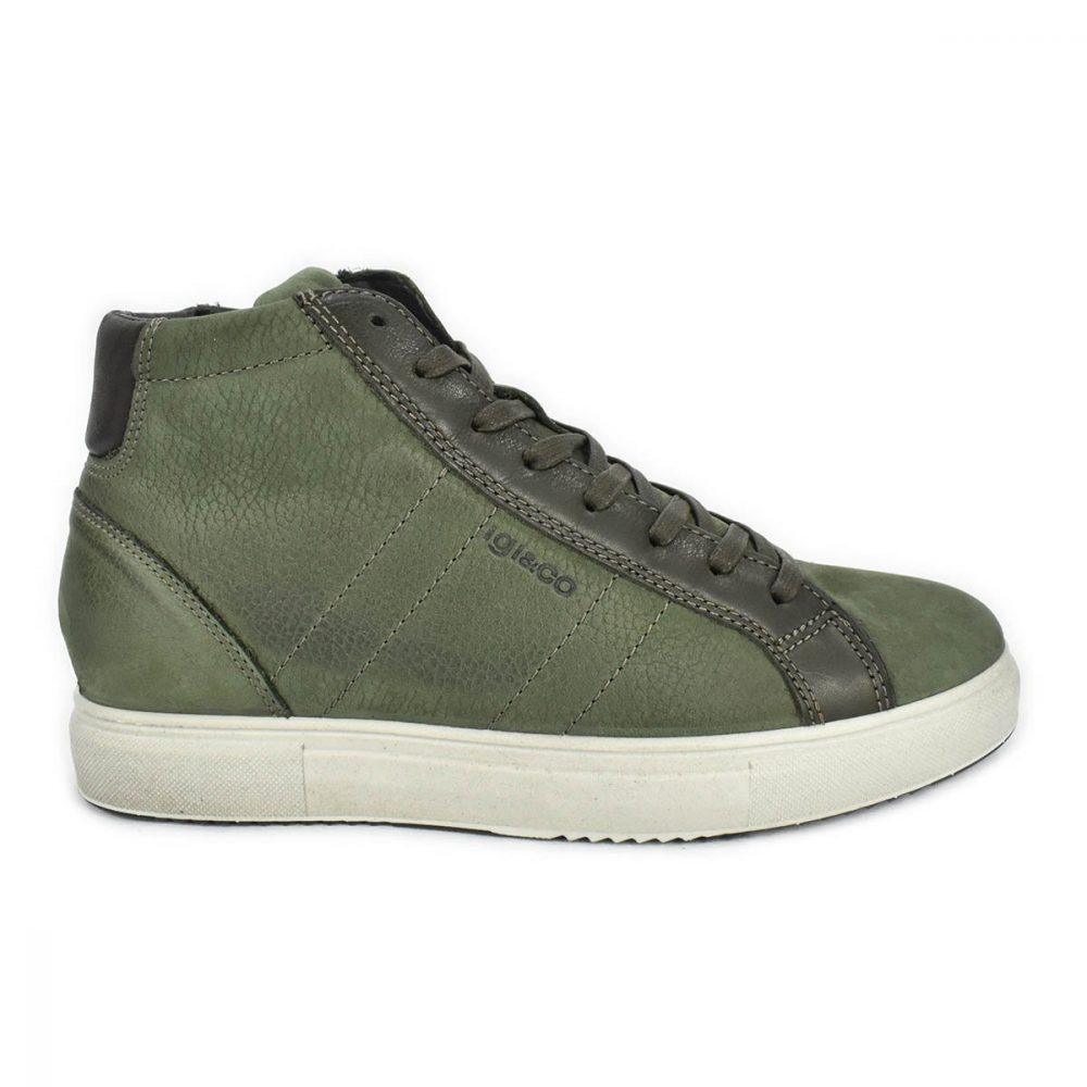 Sneaker alta verde militare in pelle nabuk con memoryfoam - IGI&CO 6131944