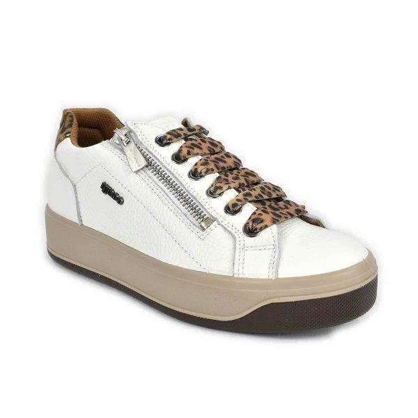 Sneakers bassa bianca e maculata con zip – IGI&CO 6162611