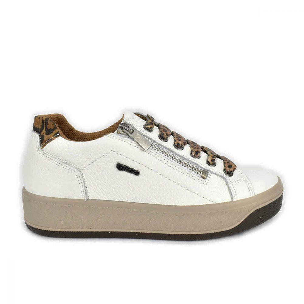 Sneakers bassa bianca e maculata con zip - IGI&CO 6162611