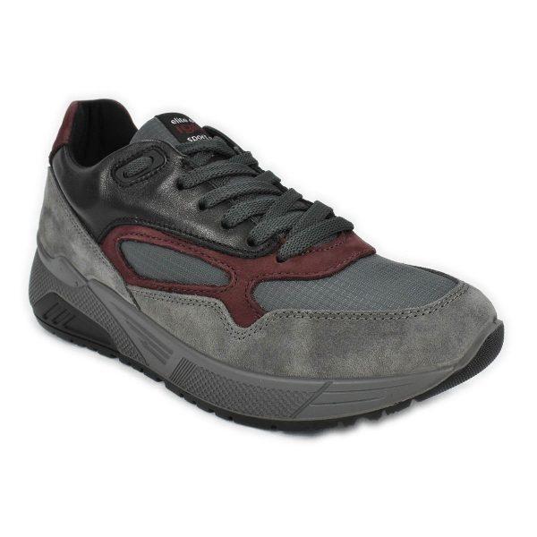 Sneakers in misto di materiali nelle tonalità di grigio nero e rosso – IGI&CO 6142522