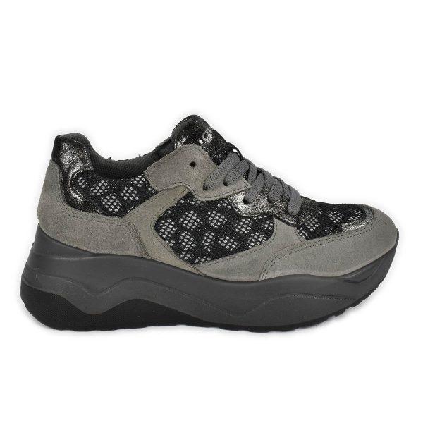 Sneakers scamosciate antracite con tema maculato e suola a zeppa – IGI&CO 6168377