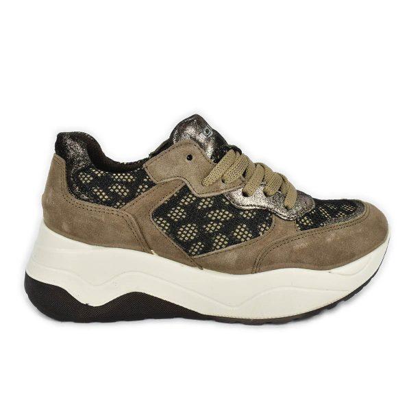 Sneakers scamosciate taupe con tema maculato e suola a zeppa – IGI&CO 6168366