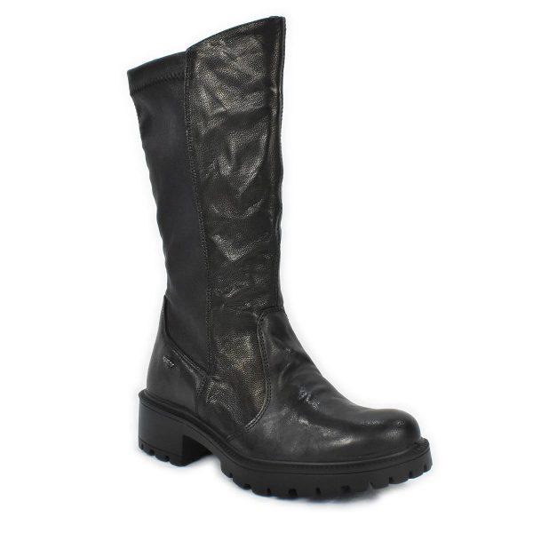 Stivale con tacco basso in pelle nera ed elasticizzato – IGI&CO 6160500