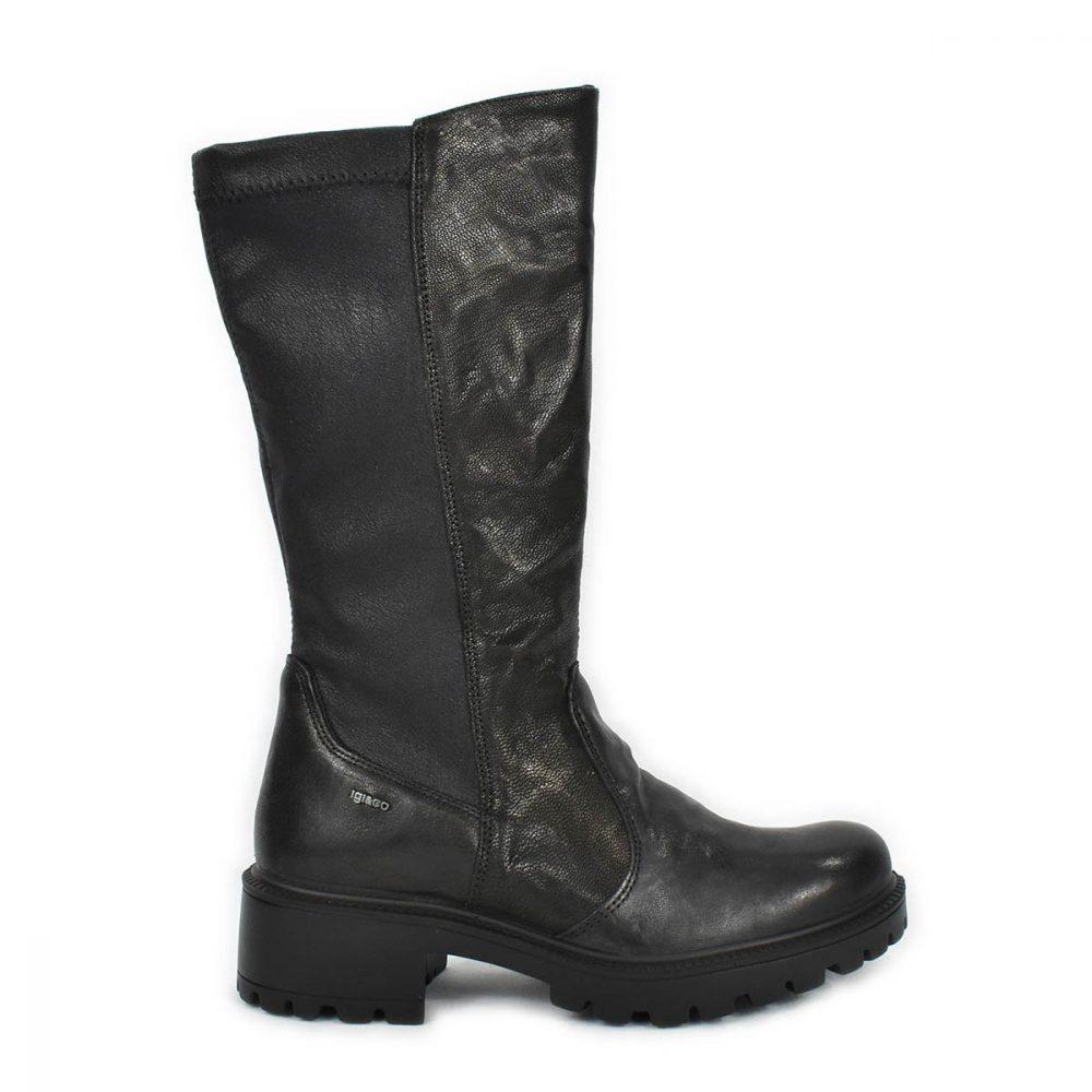 Stivale nero elasticizzato in pelle con tacco basso - IGI&CO 6160500