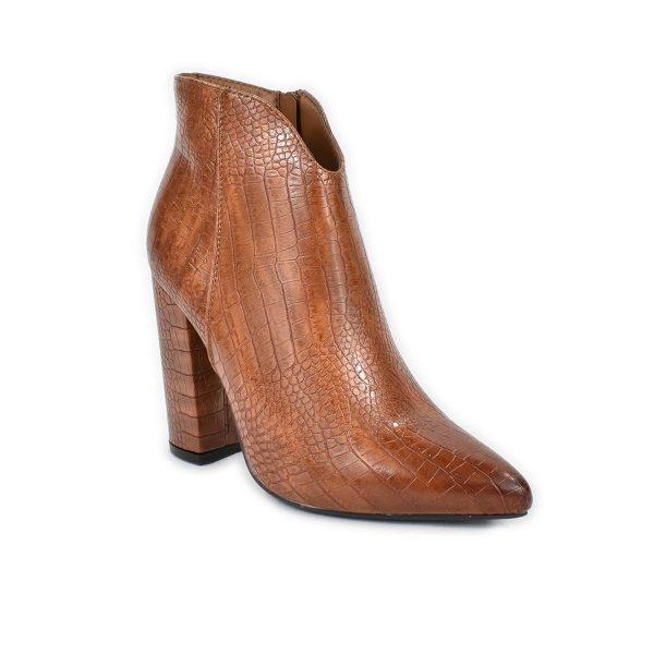 Tronchetto a punta con tacco in marrone con trama a coccodrillo – Glam&Co 6318
