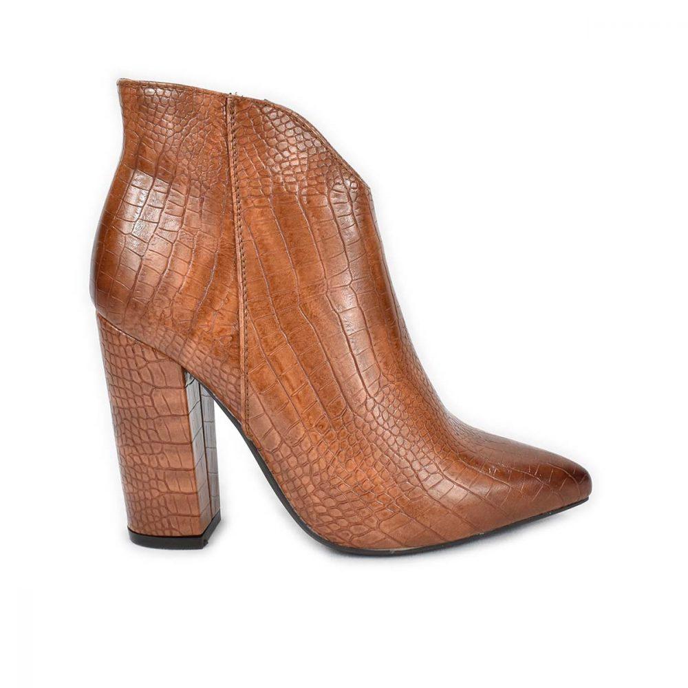 Tronchetto marrone a punta con tacco in con trama a coccodrillo - Glam&Co 6318