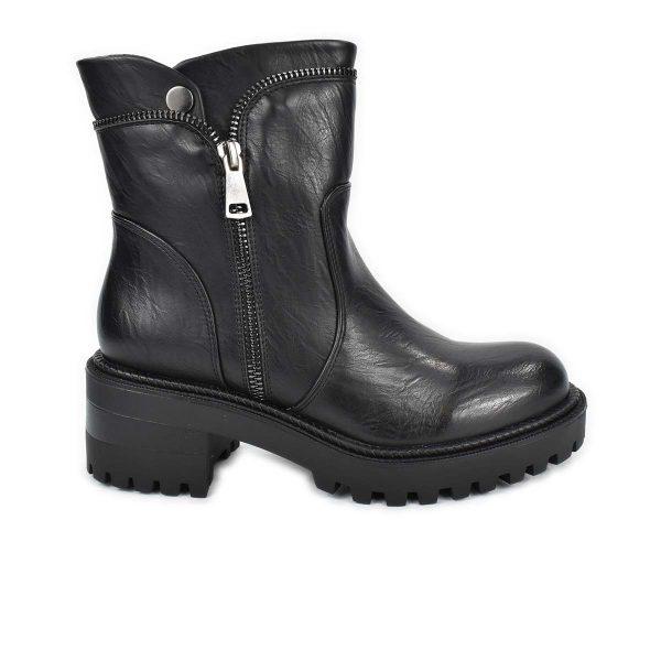 Stivaletto nero con tacco medio e zip decorative – Glam&Co 89975