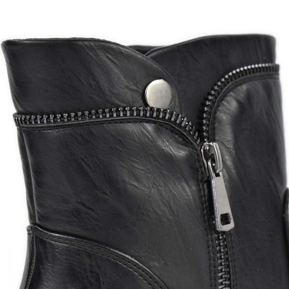 Stivaletto nero con tacco medio e zip decorative - Glam&Co 89975
