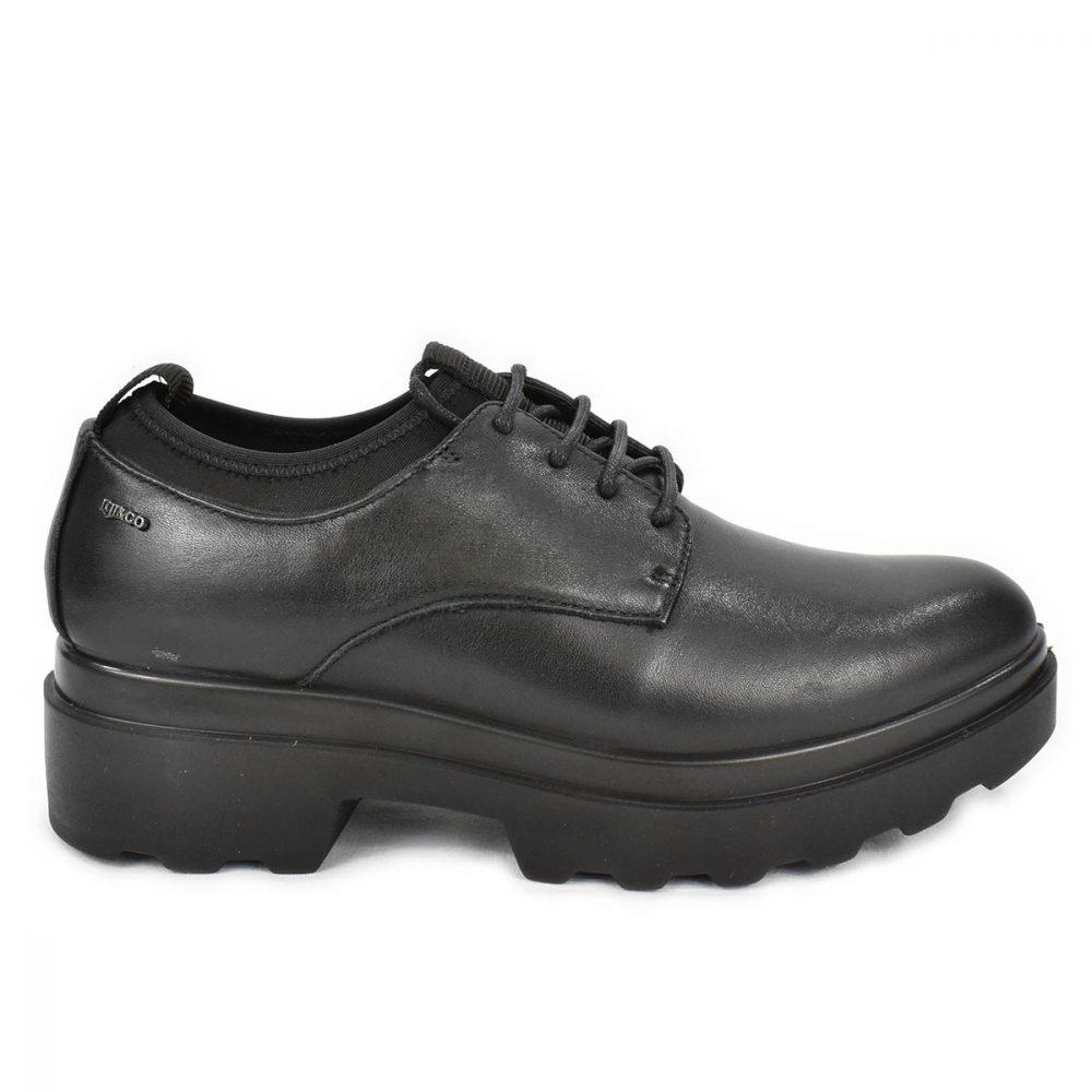 Scarpa nera in pelle con lacci ed elastico - IGI&CO 4167200