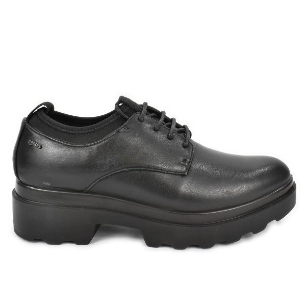 Scarpa nera in pelle con lacci ed elastico – IGI&CO 4167200