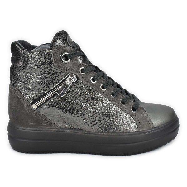 Sneakers alta grigia laminata con zeppa interna – IGI&CO 6155633