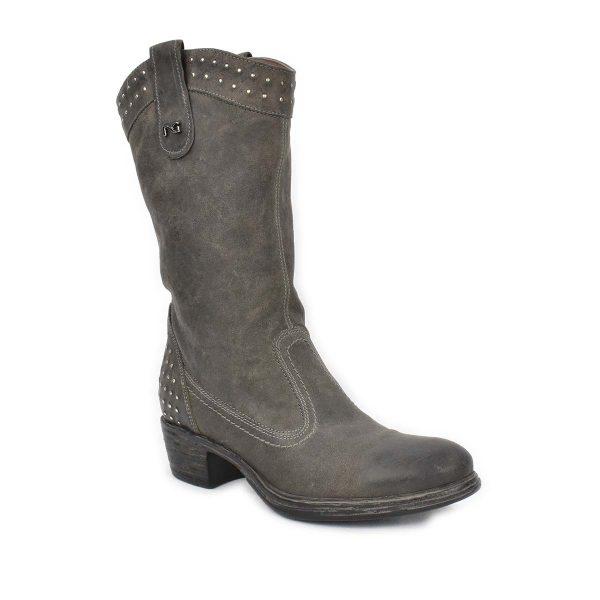 Stivale in pelle grigio antracite con borchiette – NeroGiardini  A309192D