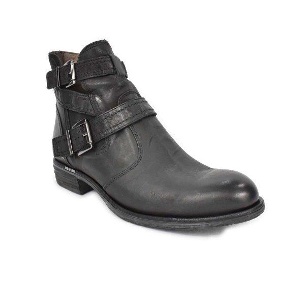 Stivaletti bassi in pelle nera con fibbie e zip – NeroGiardini A513561D