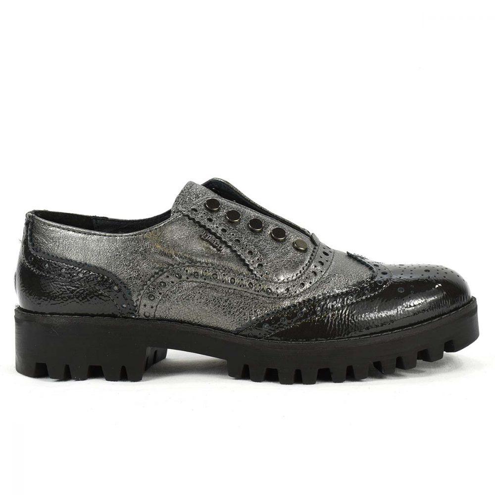 Scarpa stile inglese bassa in pelle lucida nera e grigio laminato - IGI&CO 2172311