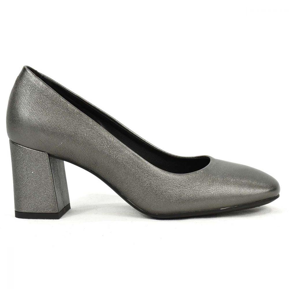 Scarpa con tacco medio grigia in pelle - IGI&CO 3180000