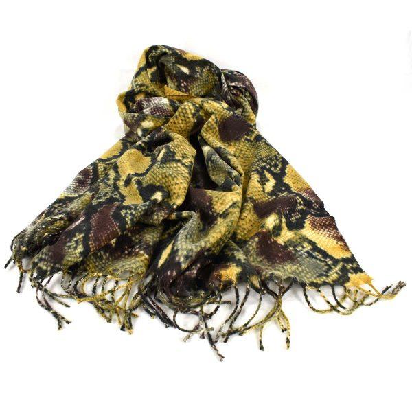 Sciarpa trama effetto pelle di serpente nei toni del giallo, verde e marrone – GMV 62431
