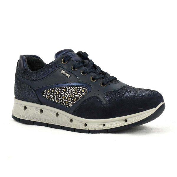 Sneakers blu in pelle e scamosciato con strass in Gore-Tex – IGI&CO 87643/00