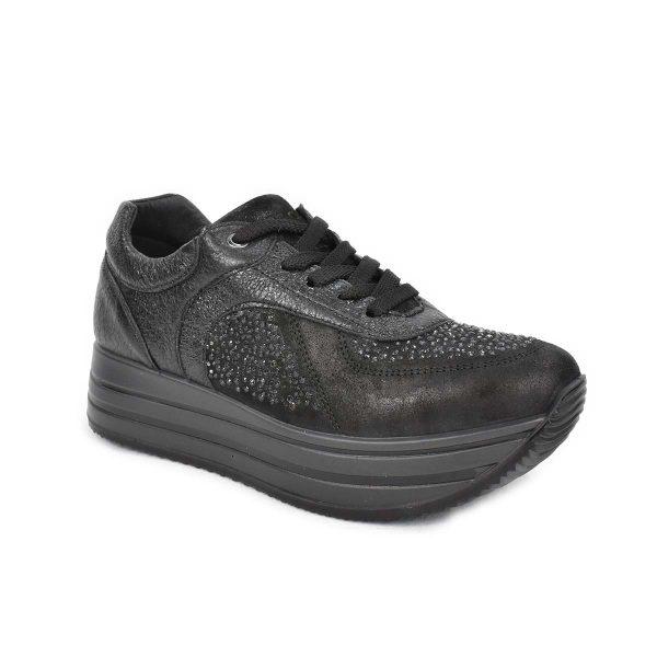Sneakers in pelle nera con strass e suola a zeppa – IGI&CO 2146400
