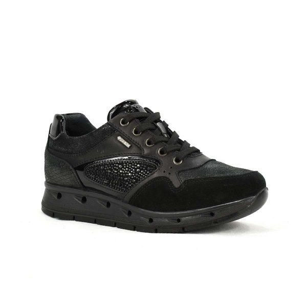 Sneakers nera in pelle e scamosciato con strass in Gore-Tex – IGI&CO 87641/00